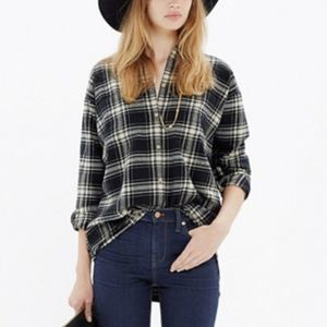Madewell Plaid Flannel Trapeze Button Down Shirt